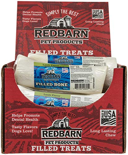 REDBARN Lamb Filled Bone for Dogs, Large, 15 Count