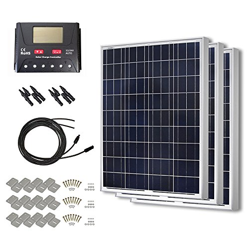 HQST 300 Watt 12 Volt Polycrystalline Solar Panel Kit with 30A PWM LCD Display Charge Controller