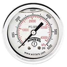 """Winters PFQ Series Stainless Steel 304 Dual Scale Liquid Filled Pressure Gauge with Brass Internals, 0-6000 psi/kpa, 2"""" Dial Display, +/-2.5% Accuracy, 1/4"""" NPT Back Mount"""