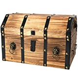 Vintiquewise(TM) Large Wooden Pirate Lockable Trunk with Lion Rings
