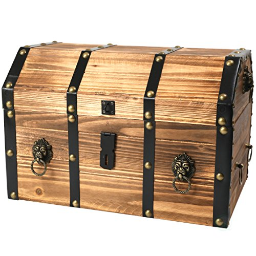 Vintiquewise(TM) Large Wooden Pirate Lockable Trunk with Lion Rings]()