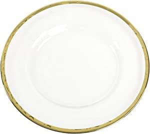 Koyal Wholesale Bulk Clear Glass Gold Rim Charger Plates, Set of 4, Glass Charger with Gold Rim, Glass Hammered Charger Plates