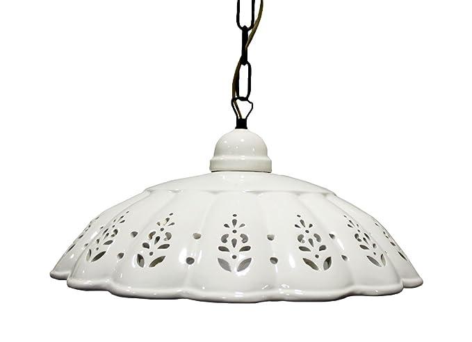 Lampadari In Ceramica.Lampadario A Sospensione Con Paralume In Ceramica Bianca