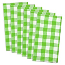 "DII 100% Cotton, Oversized Basic Everyday 20x 20"" Napkin, Set of 6, Green Apple Check"