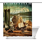 Fly Fishing Shower Curtain JDhome Fly Fishing Equipment on Deck with Beautiful View of A Lake and Mountains Art Decor Shower Curtain Set, 60 x 72 Inches Long