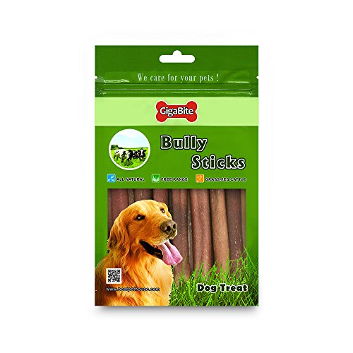 GigaBite 6 Inch Thin Odor-Free Bully Sticks (15 Pack ) – USDA & FDA Certified All Natural, Free Range Beef Pizzle Dog Treat – By Best Pet Supplies
