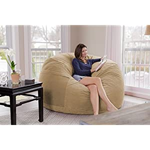 Chill Sack Bean Bag Chair: Giant 7' Memory Foam Furniture Bean Bag - Big Sofa with Soft Micro Fiber Cover - Tan Pebble