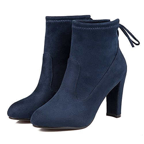 top Low Boots up Solid High Frosted Blue Women's Heels Allhqfashion Lace nxwZHX7I