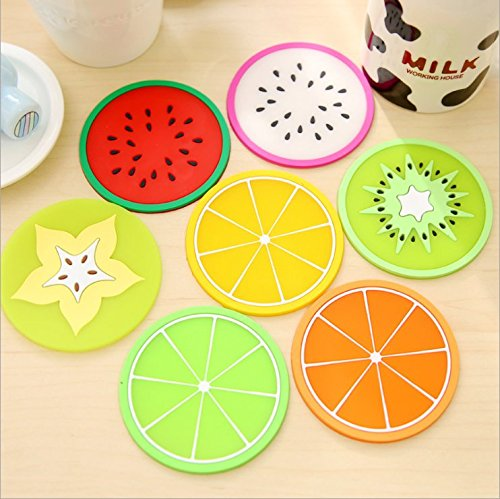 TripodGo Non Slip Fruit Coasters for Drinks Cute Coasters Silicone Coasters Car Cup Holder Coaster, 14 Pack Fruit Coasters, 7 Type