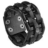Zysta Punk Gothic Mens Genuine Leather Braided Bracelet Wristband Cuff Bangle 8.5-9' Black