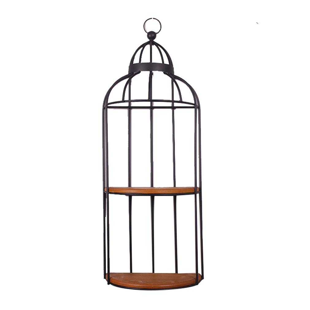 LQQGXL LQQGXLAlmacenamiento y organización Jaula de pájaros Industrial del Viento, Colgantes de la decoración de la Pared, estantes de la Pared, estantes de Flor. (Color : Negro)