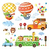 Decowall DA-18062P14063 Animal Transports and Hot Air Balloons Kids Wall Stickers Wall Decals Peel and Stick Removable Wall Stickers for Kids Nursery Bedroom Living Room