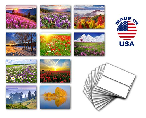 FLOWERS and LANDSCAPES note card set of 10. Blank inside. Variety pack of cards with nature, flower, and
