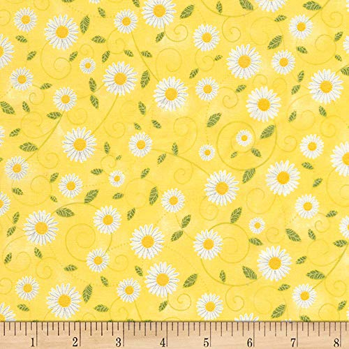 By Timeless Treasures - Timeless Treasures You are My Sunshine Daisy Vines Yellow Fabric by The Yard