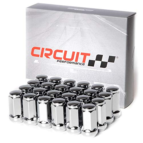 Circuit Performance 14x2.0 Chrome Closed End Bulge Acorn Lug Nuts Cone Seat Forged Steel (24 Pieces) ()