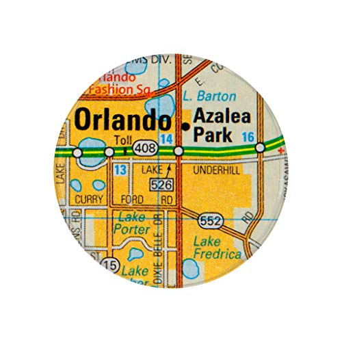Orlando, FL, City Map Photo Print,2.25 Inch Pocket Mirror, Refrigerator Magnet or Pinback Button