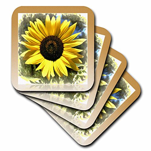 (3dRose CST_33909_3 Yellow Sunflower Floral-Flowers-Ceramic Tile Coasters, Set of 4)