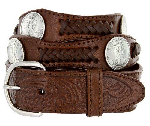 Walking Liberty Memorial Coin Concho Western Embossed Leather Belt (40 (Concho Western Leather)