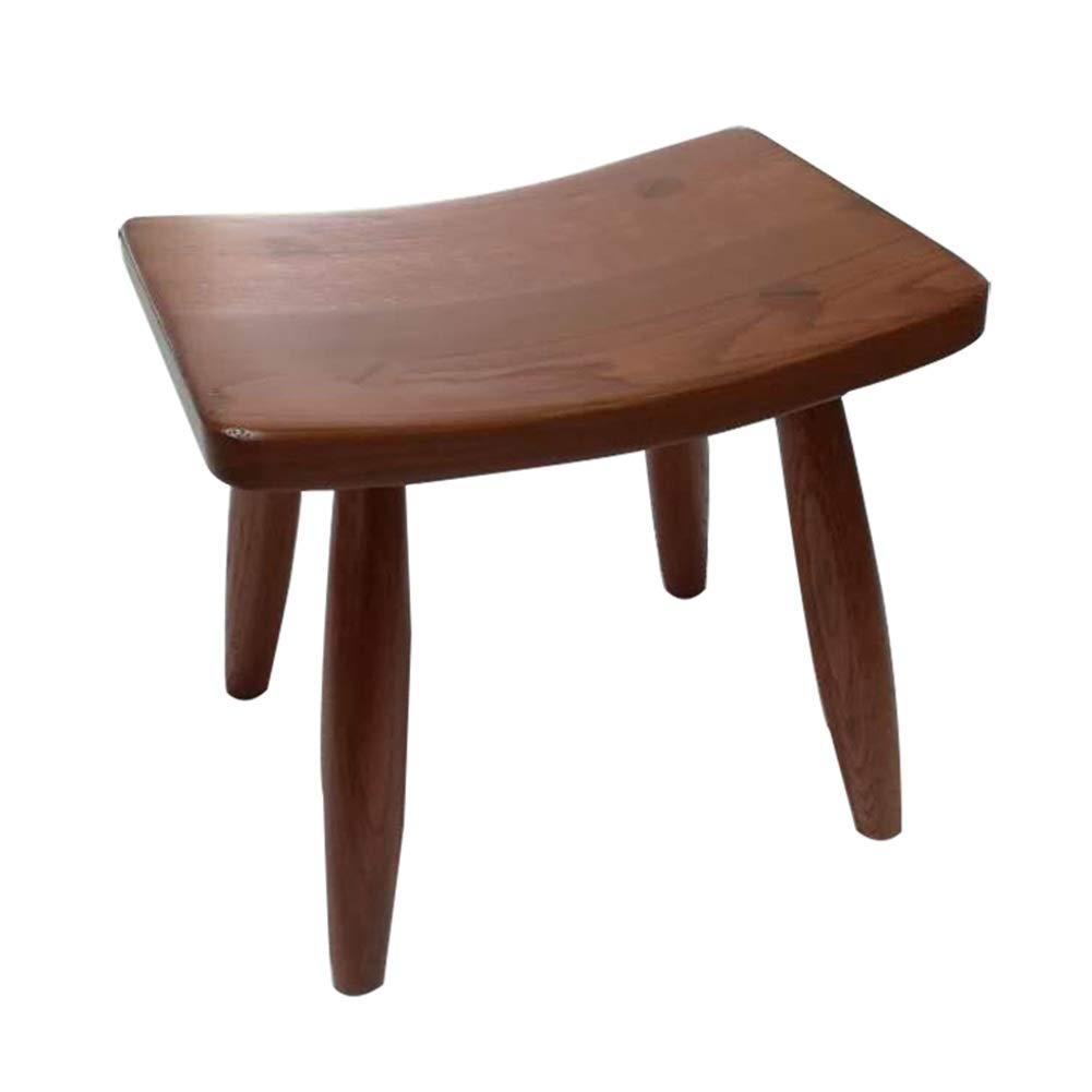 Walnut color 26.519.523cm Small Stool-Solid Wood Stool Short Fashion Home Stool Creative Wooden Small Bench European Dining Stool FENPING (color   Red-Brown, Size   26.5  19.5  23cm)