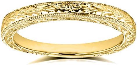 Kobelli Antique Engravings Wedding Band in 14k Yellow Gold