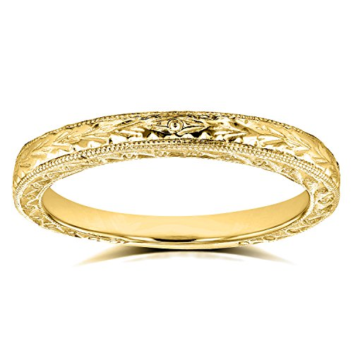 Antique Engravings Wedding Band in 14k Yellow Gold, Size 8 from Kobelli