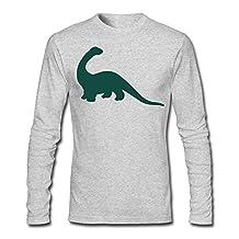 SHHY Men's Apatosaurus Dinosaur Long Sleeve T-shirt HeatherGray