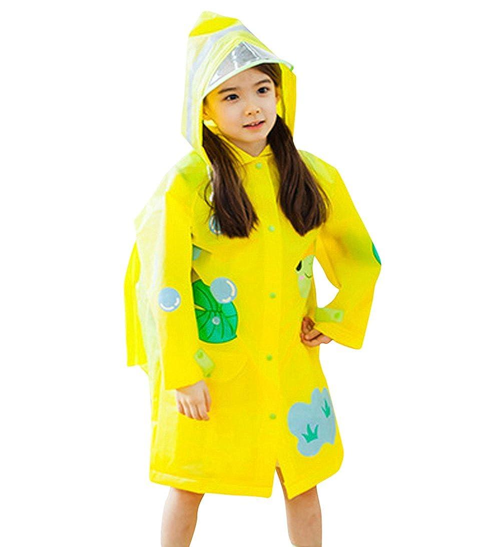 Tortor 1Bacha Kid Boys Girls Print Hooded Raincoat Long Rain Jacket Slicker Q15433