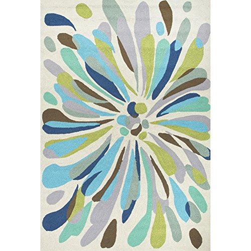 5' x 7.5' Sage Green, Silver Gray and Ocean Blues Outdoor Flowerburst Area Throw Rug (Rug Silver Sage Outdoor)