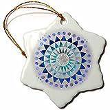 3dRose Andrea Haase Art Illustration - Blue Watercolor Mandala Pattern Illustration - 3 inch Snowflake Porcelain Ornament (orn_268242_1)