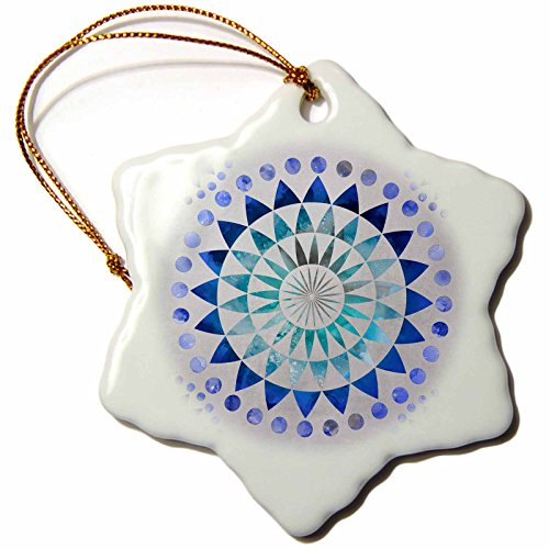 3dRose Andrea Haase Art Illustration - Blue Watercolor Mandala Pattern Illustration - 3 inch Snowflake Porcelain Ornament (orn_268242_1) by 3dRose