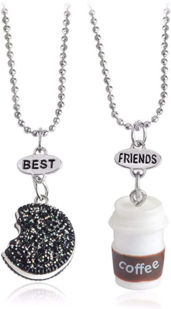 2 Pieces/Set of Mini Biscuits and Coffee Pendant Necklace Cookies Milk BFF Gift Food Friendship Jewelry