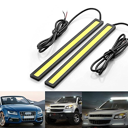 Generic DELIVERED in 2 to 3 days-Pack of 2 pcs Set COB Bulb Car LED RED Daytime Running Light DRL Waterproof Aluminum High Power Xenon Slim COB LED DRL Daylight Driving Daytime Running Light Lamp for Car SUV Sedan Coupe Vehicle (White with Black Frame, 17cm)