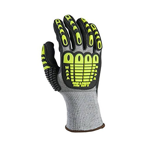 MAPA 535011 Exonit Grip and Proof 535 Impact Gloves - Cut Level 2, Grey/black/Yellow, 11 (Pack of 12)