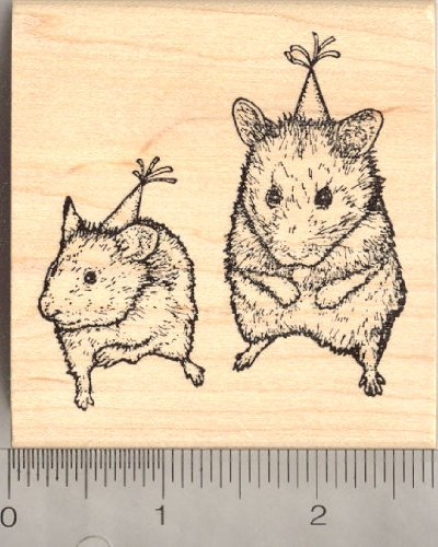 Birthday Party Hamsters Rubber Stamp by RubberHedgehog