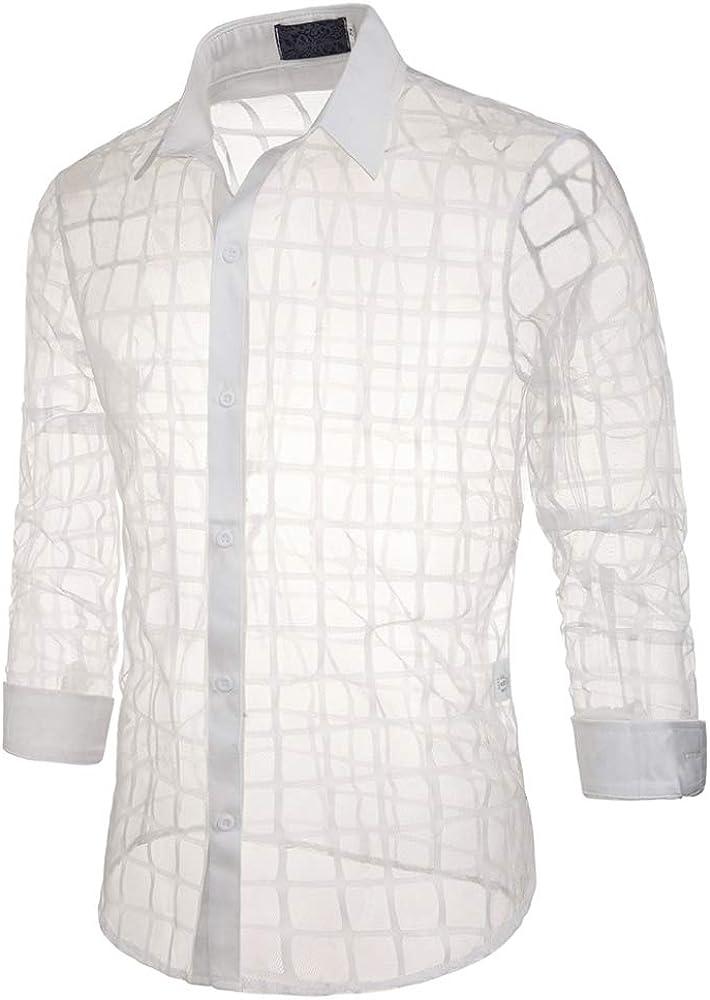 Loeay Camisa de otoño para Hombre Stage Slim Fashion Plaid Camisa de Solapa Transparente Camisa de Manga Larga Transparente Casual Camisas Casuales de Hombres