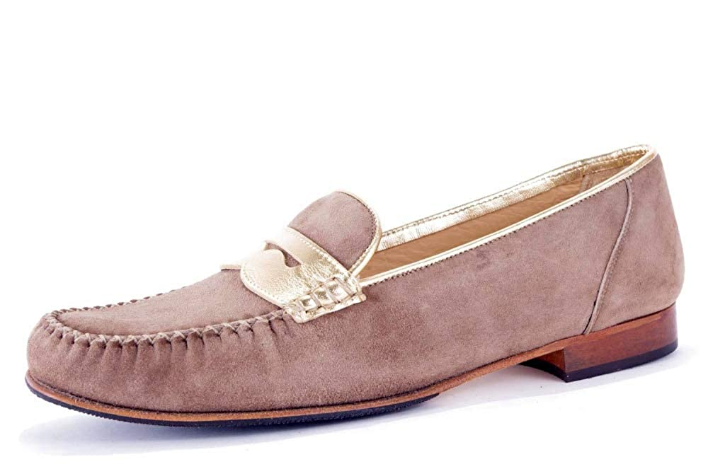 CALAND/SCHOEN - Mocasines de Cuero para Mujer Beige Beige/Camel: Amazon.es: Zapatos y complementos