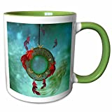 3dRose Heike Köhnen Design Sign Symbol – Wonderful dream catcher with feathers – 11oz Two-Tone Green Mug (mug_256356_7)