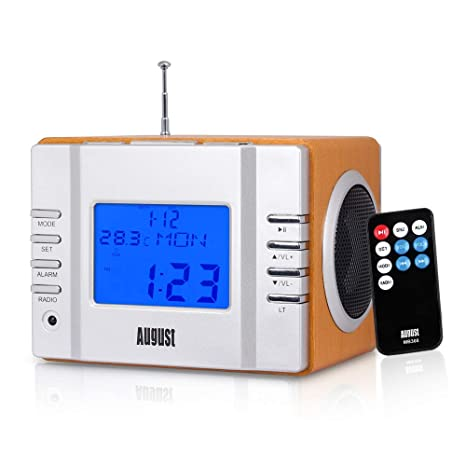 e35eb6e019c FM Radio MP3 Alarm Clock - August MB300 - Wake to your Favourite Music from  USB and SD or FM Station - Rechargeable Portable Speaker  Wooden   Amazon.co .uk  ...