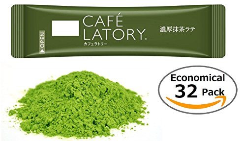 Cafe Latory Matcha Powder By RAPID - Premium Green Tea Latte - Individual Packets For Convenience - Smooth Foaming & Rich Flavor - Excellent Natural Energy Source - (Economical 32 pcs)