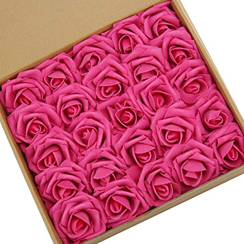 N&T NIETING Artificial Flowers Roses, 25pcs Real Touch Artificial Foam Roses Decoration DIY for Wedding Bridesmaid Bridal Bouquets Centerpieces, Party Decoration, Home Display (Hot Pink)