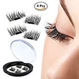 False Magnetic Eyelashes, 0.2mm Ultra-thin 3D Fiber for Natural Look, Cruelty Free, Reusable Perfect for Deep Set Eyes & Round Eyes, 1 Pair 4 Pieces