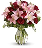 Chicago Flower Co. - Lavish Love Bouquet with Long Stemmed Red Roses and Lillies - Fresh and Hand Delivered