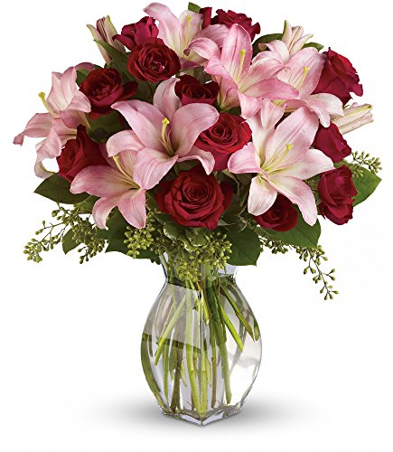 Chicago Flower Co. - Lavish Love Bouquet with Long Stemmed Red Roses and Lillies - Fresh and Hand Delivered by Chicago Flower Company