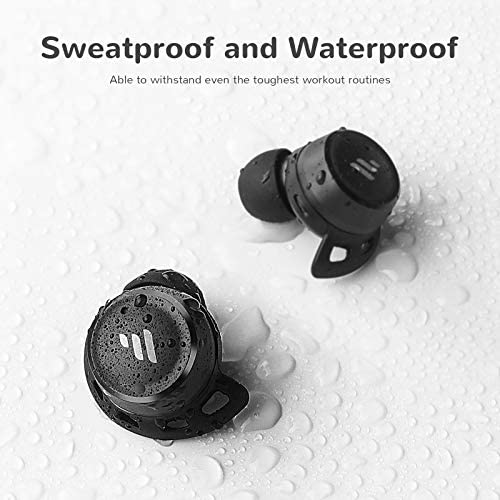 Letsfit T20 Wireless Earbuds, Bluetooth Running Headphones with Rich Bass Stereo, 30 Hrs Playtime, Touch Control, Waterproof Sports Earbuds with Mic & Drop-Safe Fit Design for Workout Fitness