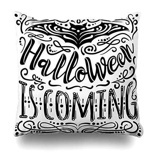 KJONG Halloween is Coming Inspirational Quote Vintage Zippered Pillow Cover,18 x 18 inch Square Decorative Throw Pillow Case Fashion Style Cushion Covers(Two Sides Print)