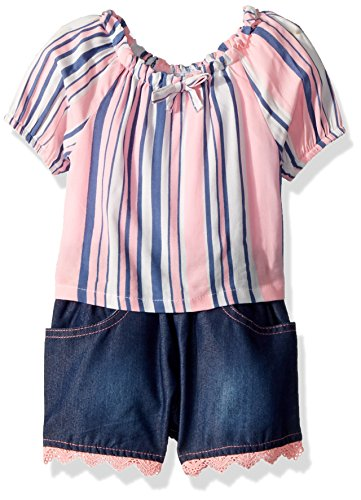 Limited Too Baby Girls Fashion Top and Short Set, Woven Stripe Apricot Lace Hem Multi Print, (Lace Woven Shorts)