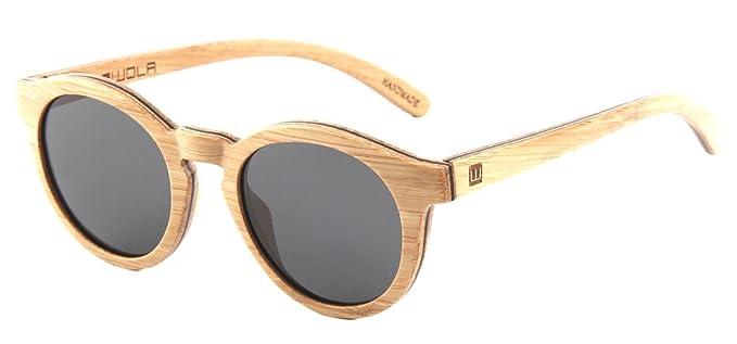 WOLA gafas de sol madera - SELVA lentes mujer, gafas de sol polarizadas en skateboard wood, gafas redondas UV400 beige: Amazon.es: Ropa y accesorios