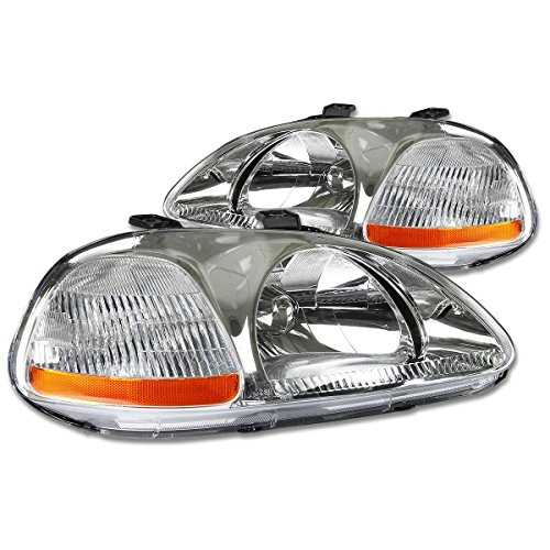 DNAMotoring HL-OH-HC96-CH-AM Headlight Assembly, Driver and Passenger Side (Civic Moulding Door Honda)