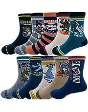 Kids Boys Fashion Cartoon Dinosaurs Pattern Sport Socks 10 Pairs
