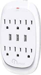 ONSMART USB Wall Tap Surge Protector with 6 outlets 3 USB, 3.4A Output, Portable Wall-Mount Socket, 300J Surge Protection & Smart Charging for Home- Office- Kitchen- Travel (White)